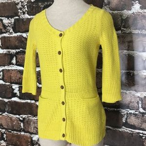 Anthropologie Sparrow Yellow Cardigan Sweater XS